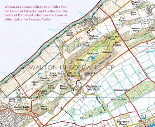 A map showing the area of Walton-in-Gordano Cilvil PArish